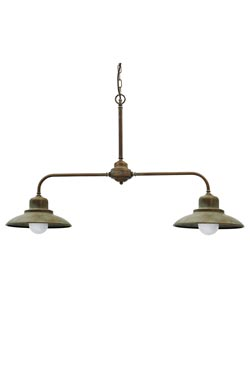 Double pendant lamp in aged brass. Moretti Luce.