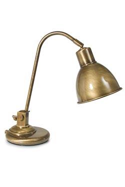 Petite lampe de bureau en laiton patiné verni . Moretti Luce.