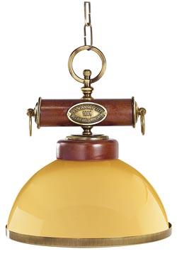 Suspension coupole jaune bois verni et laiton naturel. Moretti Luce.