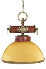 Suspension coupole jaune bois verni et laiton naturel. Moretti Luce.