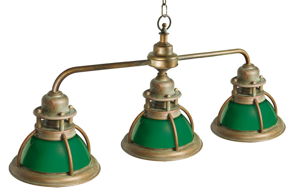 Suspension de marine triple en laiton naturel et verre vert. Moretti Luce.