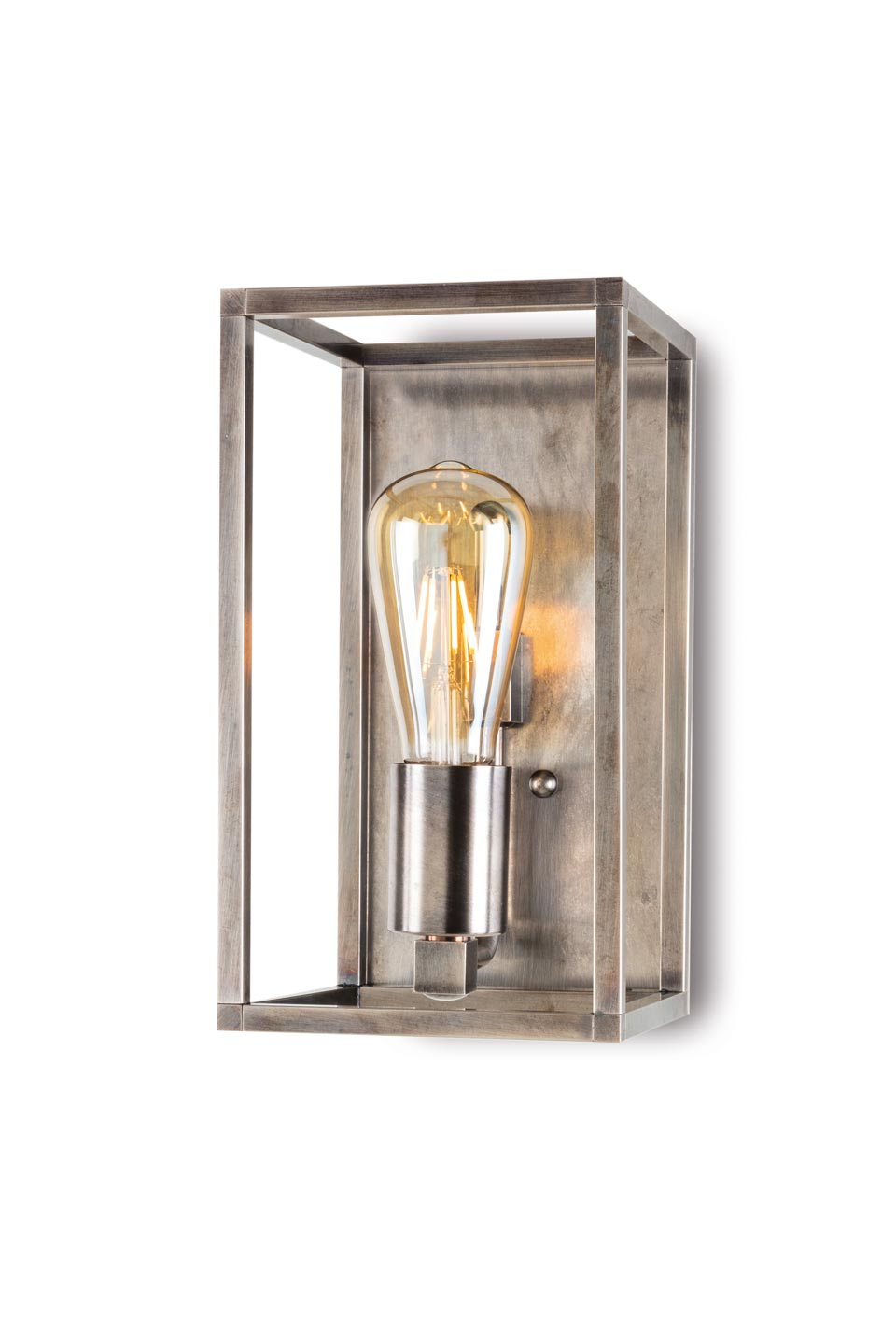 Cubic Lantern wall lamp in aged nickel. Moretti Luce.