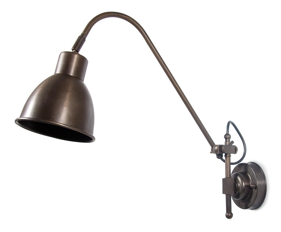 Large architect wall lamp in antique brass. Moretti Luce.