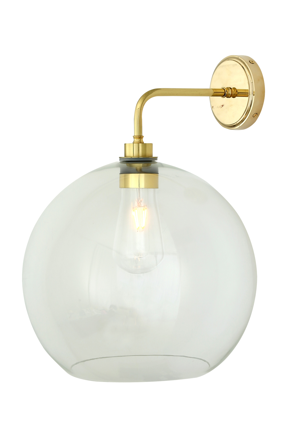 applique en laiton poli, IP54, ampoule LED rétro