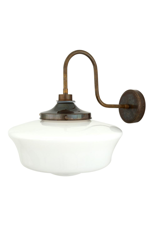 Applique en verre opale blanc et laiton antique, style rétro, IP54