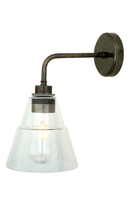 Ampoule LED rétro, bras 90°, en laiton antique