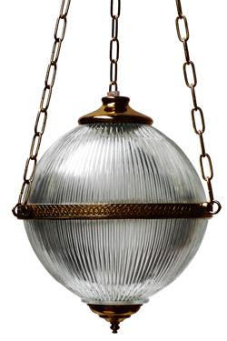 Blaeneau suspension boule en verre cannelé. Mullan.