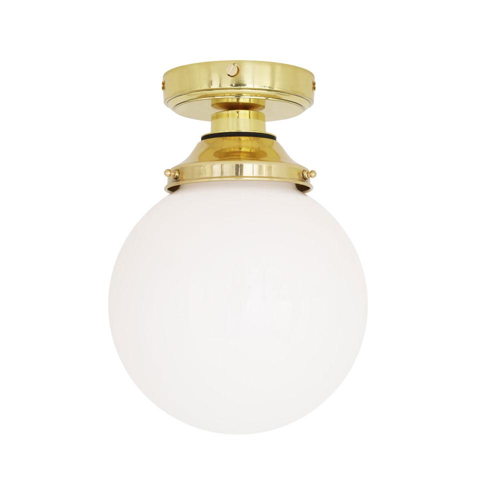 Luminaire Salle De Bain Style Industriel plafonnier style classique, laiton poli, sphère en verre opale, ip65