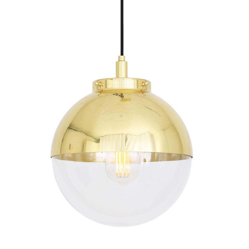 Suspension bicolore en laiton et verre transparent, dorée, IP65, ampoule LED