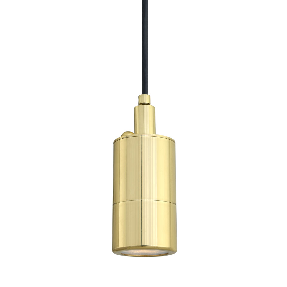 Suspension cylindre en laiton poli, éclairage LED, IP54