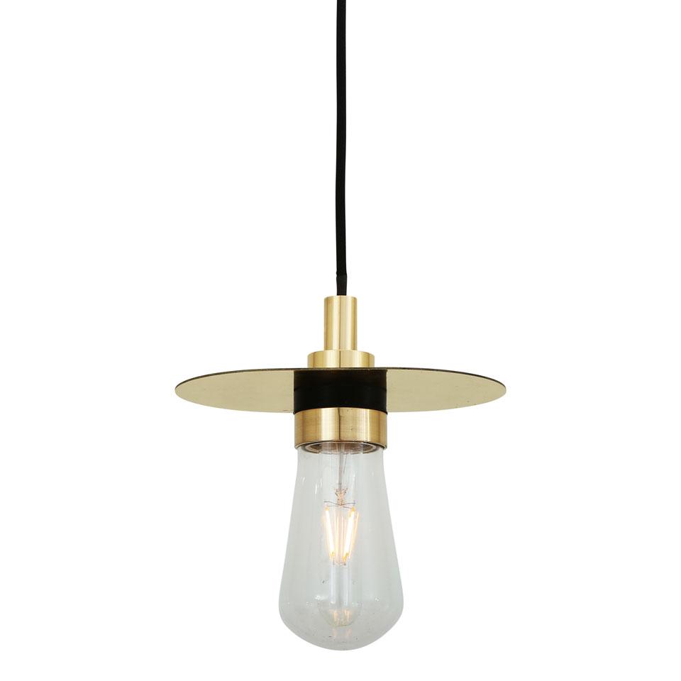 Suspension en laiton, acier et verre, finitions dorée noire, IP65, ampoule  LED