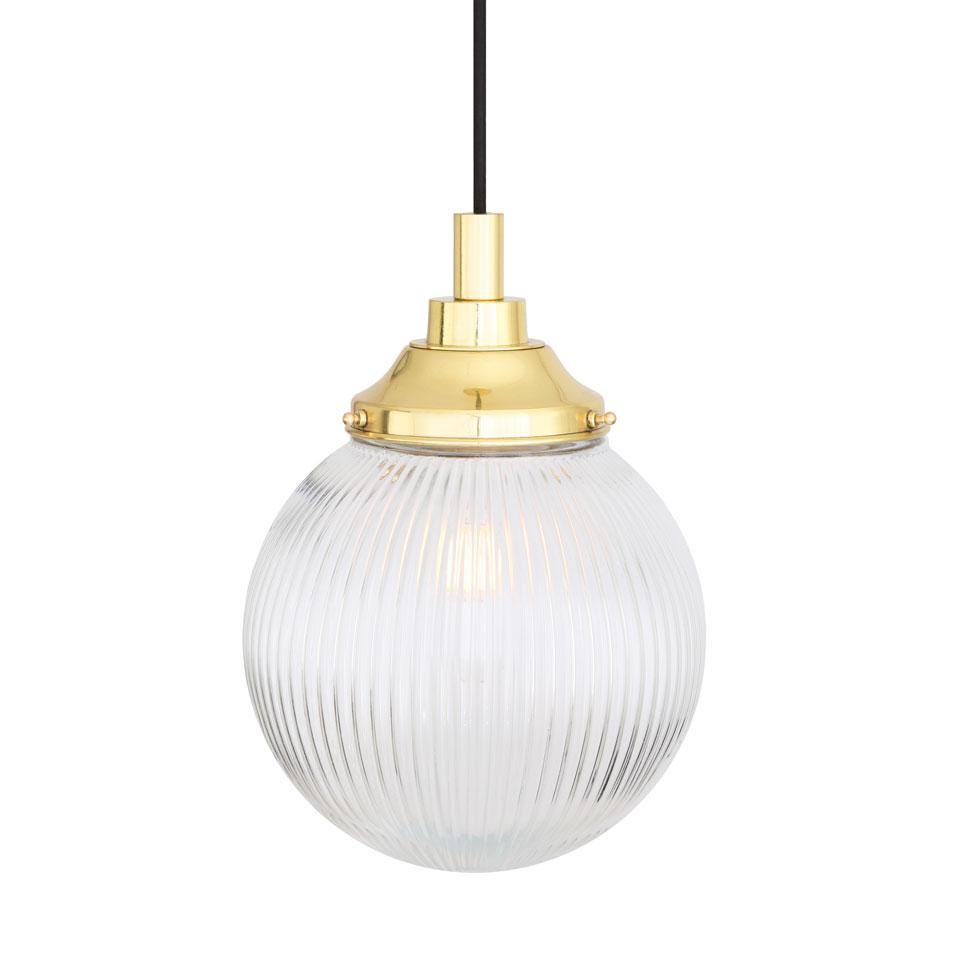 Suspension en verre cannelé, laiton poli, IP65, ampoule LED