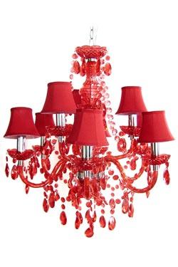 Romeo lustre 9 lumières rouge. Muno.