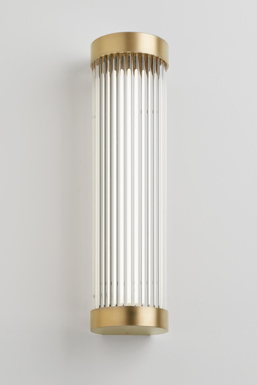 Mercer Satin Gold Art Deco Bathroom Wall Lamp. Nautic By Tekna.