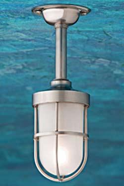 Bounty 12V plafonnier bronze nickelé mat verre sablé. Nautic by Tekna.