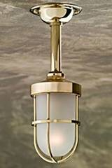 Bounty 12V polished bronze with sand-blasted glass. Nautic by Tekna.