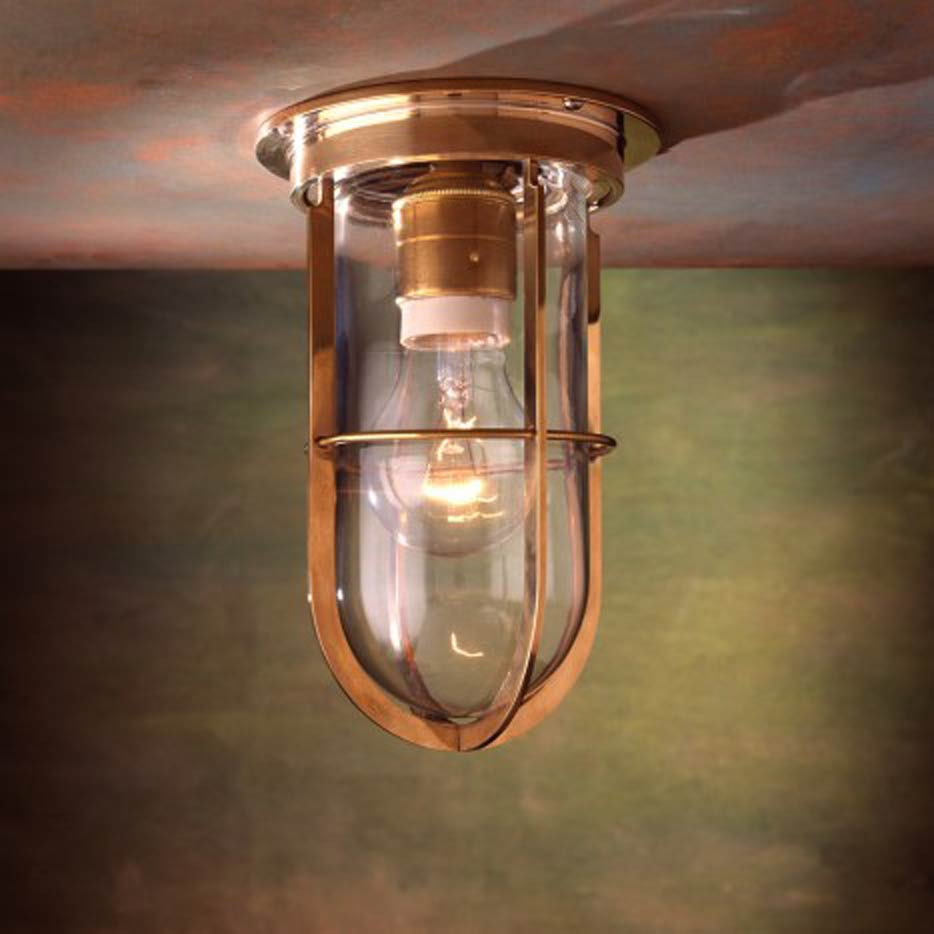 Docklight Ceiling plafonnier bronze poli verre clair. Nautic by Tekna.