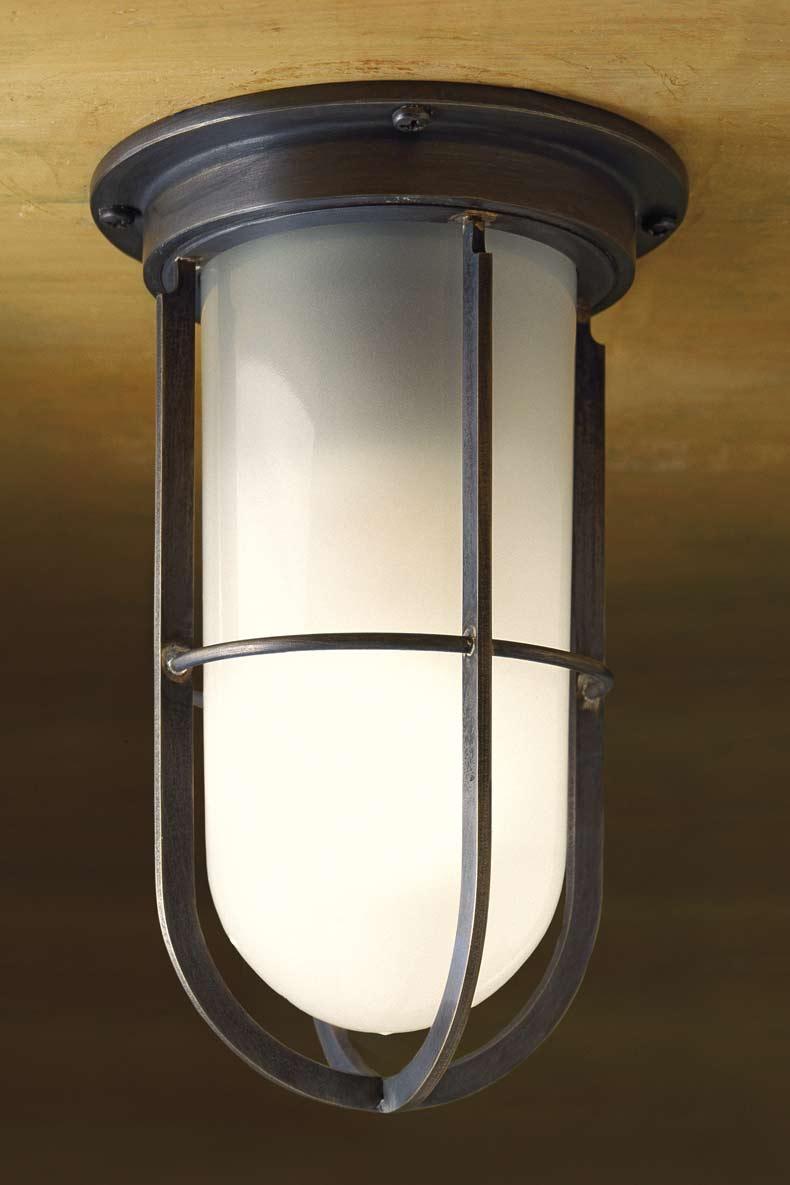 Docklight ceiling plafonnier en bronze antique verre sabl for Plafonnier exterieur terrasse