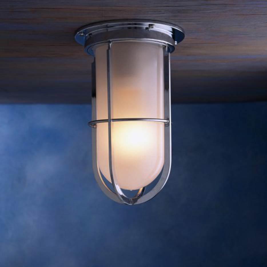 Docklight ceiling plafonnier tanche bronze chrom verre for Luminaire exterieur balcon