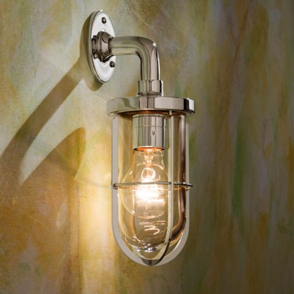 Docklight Wall applique en bronze nickelé poli verre clair. Nautic by Tekna.