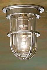 Bounty Ceiling 12V polished nickel-plated bronze with clear glass . Nautic by Tekna.