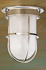 Bounty Ceiling 12V polished nickel-plated bronze with sand-blasted glass . Nautic by Tekna.