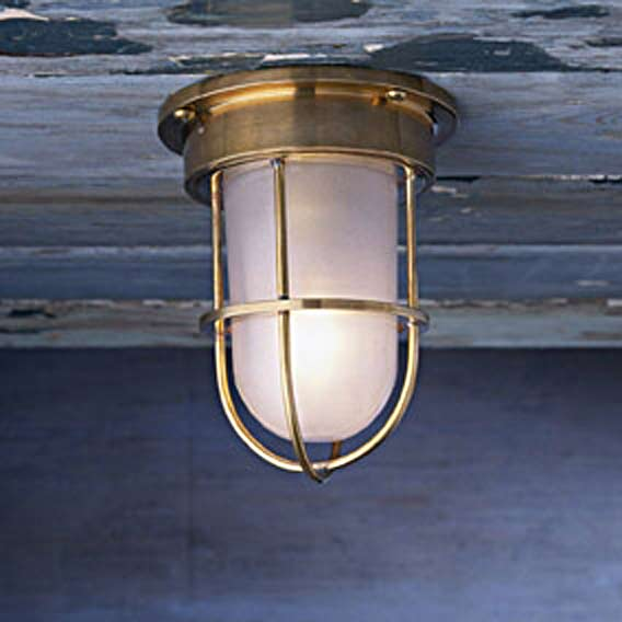 Bounty Ceiling 12V polished bronze with sand-blasted glass. Nautic by Tekna.