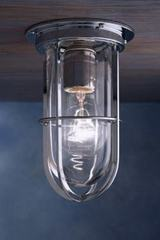Docklight Ceiling chrome-plated bronze with clear glass. Nautic by Tekna.