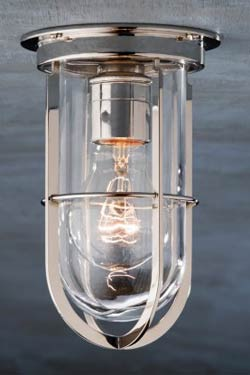 Docklight Ceiling polished nickel-plated bronze with clear glass. Nautic by Tekna.
