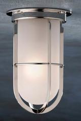 Docklight Ceiling polished nickel-plated bronze with sand-blasted glass. Nautic by Tekna.