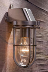 Admiral wall light in matt nickel-plated bronze with clear glass. Nautic by Tekna.
