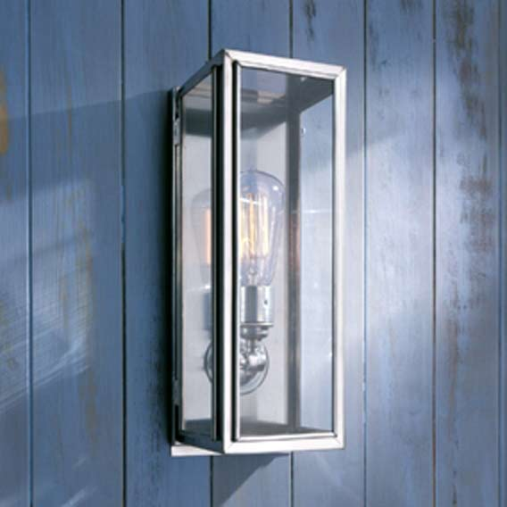 reputable site 6dc4f b1326 Antique chrome-plated bronze exterior wall lantern with clear glass.