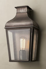 Antique Bronze Outdoor Lantern Montrose City Small Flat Glass. Nautic by Tekna.
