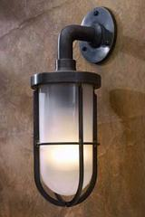 Docklight Wall antique bronze with sand-blasted glass. Nautic by Tekna.