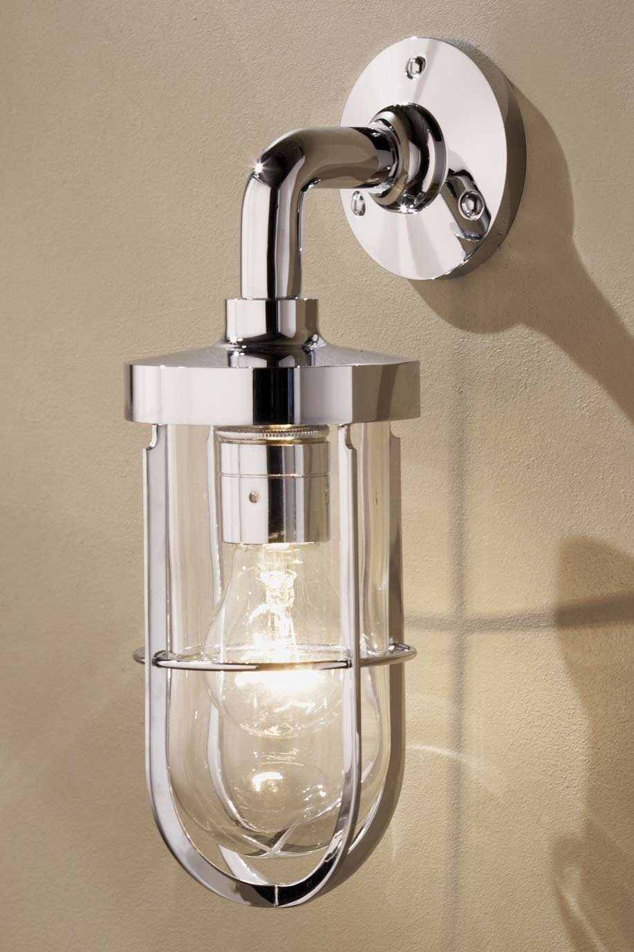Docklight Wall chrome-plated bronze with clear glass. Nautic by Tekna.