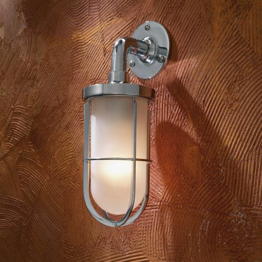 Docklight Wall chrome-plated bronze with sand-blasted glass - Nautic ...