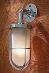 Docklight Wall chrome-plated bronze with sand-blasted glass. Nautic by Tekna.
