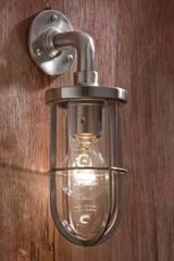 Docklight Wall matt nickel-plated bronze with clear glass. Nautic by Tekna.