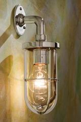 Docklight Wall polished nickel-plated bronze with clear glass. Nautic by Tekna.