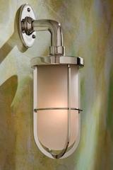 Docklight Wall polished nickel-plated bronze with sand-blasted glass. Nautic by Tekna.