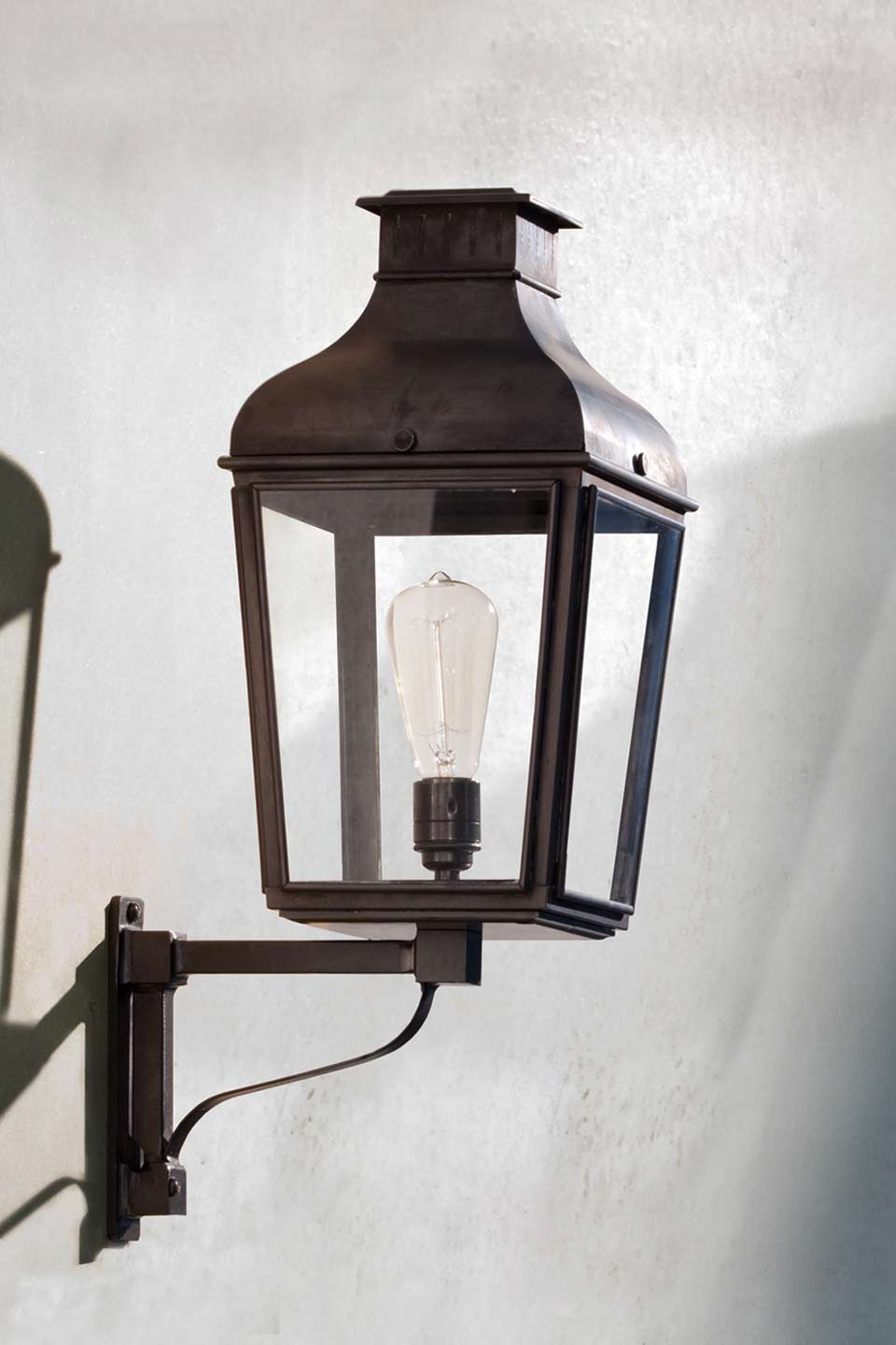 Lantern In Bronze And Wrought Iron
