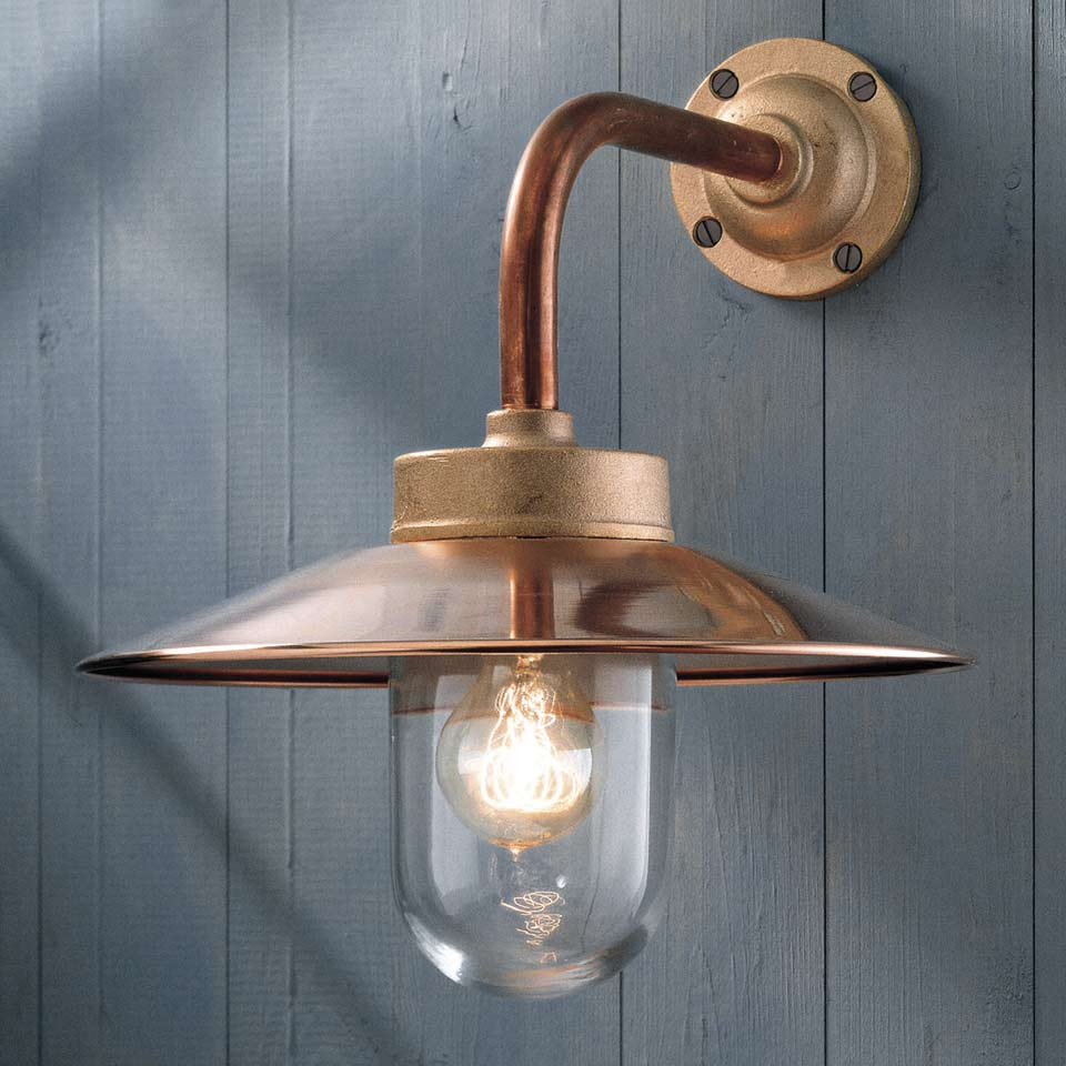 Quay light 90 copper with clear glass nautic by tekna for Applique murale exterieure rustique