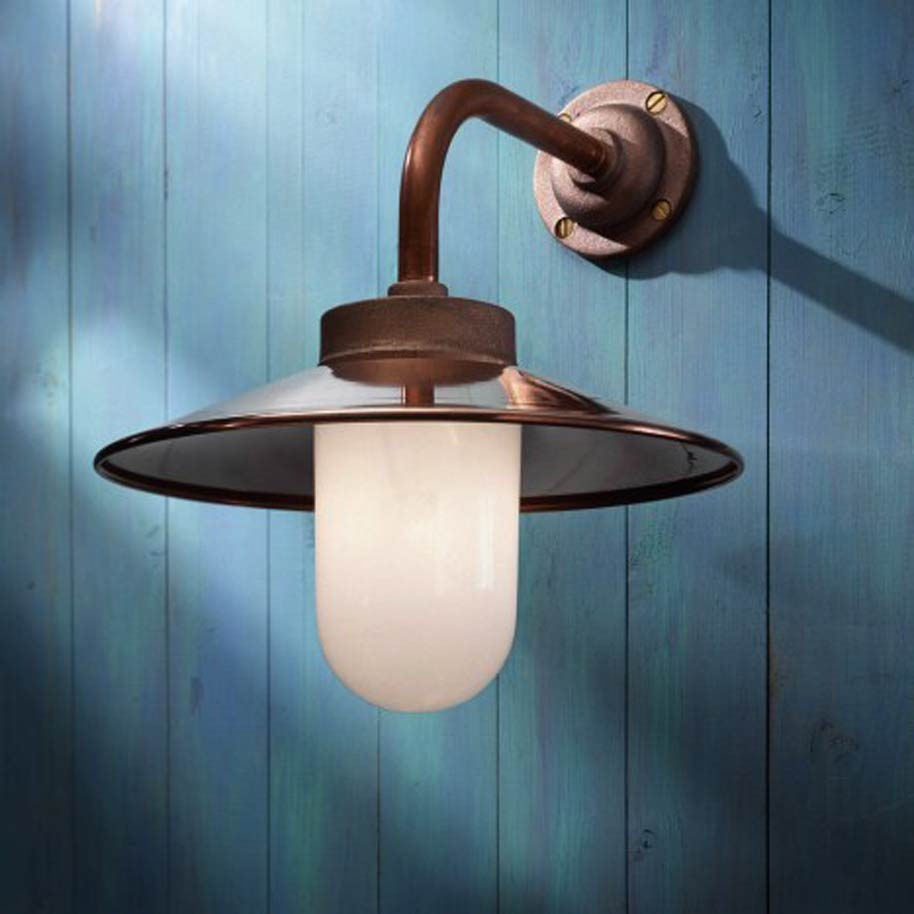 Quay light 90 copper with opal glass nautic by tekna for Applique murale eclairage exterieur