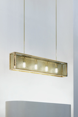 Portreath Mesh-C suspension rectangulaire en bronze poli. Nautic by Tekna.