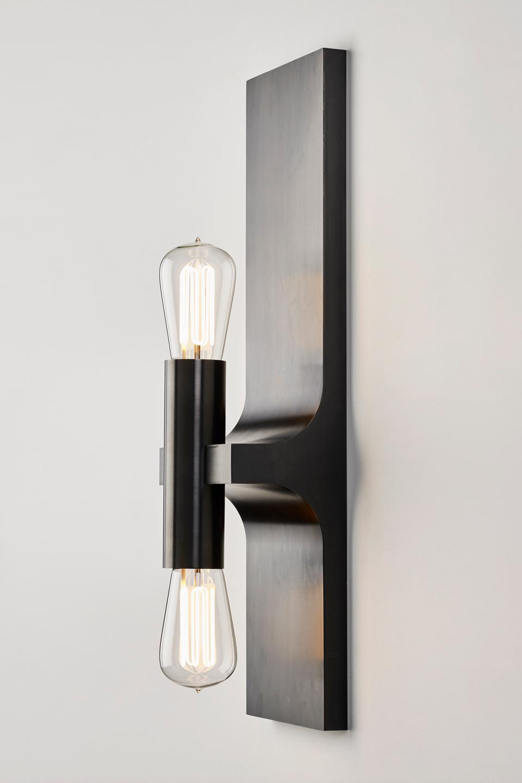 Walcott applique double en bronze patiné noir. Nautic by Tekna.