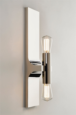 Walcott double wall lamp in polished chrome. Nautic by Tekna.
