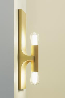 Walcott large golden double wall lamp. Nautic by Tekna.