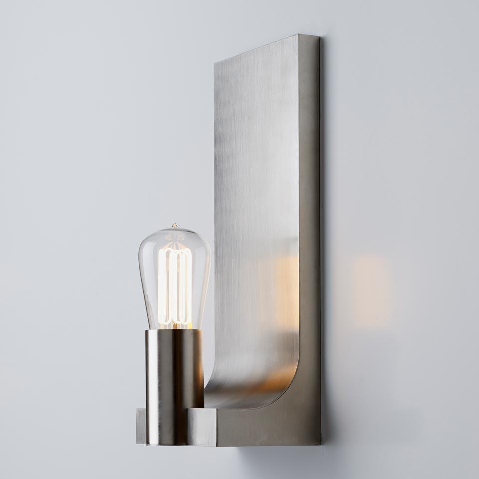 Walcott matte nickel finish wall lamp. Nautic by Tekna.