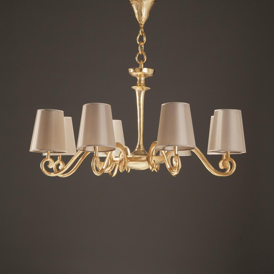 Amboise lustre doré et abat-jour seigle 8 lumières. Objet insolite.