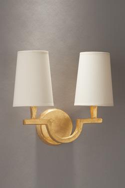 Applique 2 lumières en bronze doré Perceval. Objet insolite.